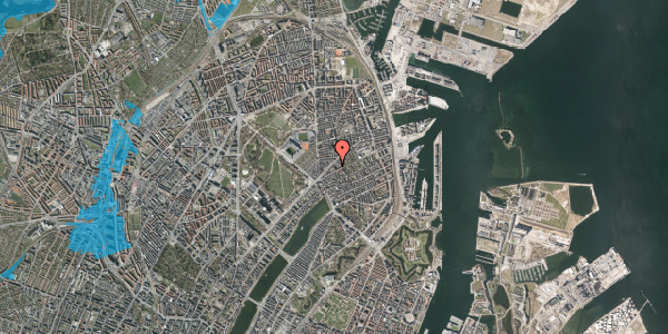 Oversvømmelsesrisiko fra vandløb på Faksegade 18, st. tv, 2100 København Ø