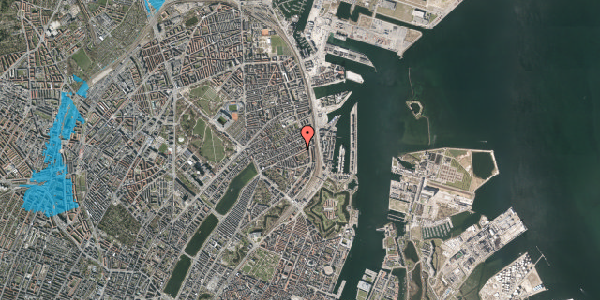 Oversvømmelsesrisiko fra vandløb på Fiskedamsgade 2, 1. tv, 2100 København Ø