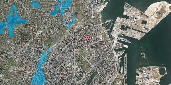 Oversvømmelsesrisiko fra vandløb på Hesseløgade 16, 2100 København Ø