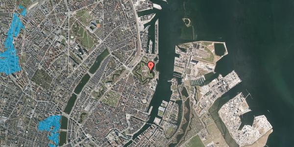 Oversvømmelsesrisiko fra vandløb på Kastellet 6, 2100 København Ø
