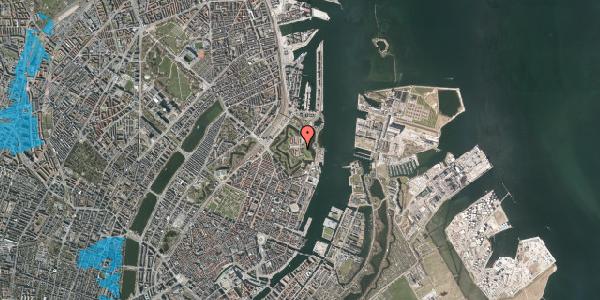 Oversvømmelsesrisiko fra vandløb på Kastellet 10, 2100 København Ø