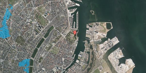 Oversvømmelsesrisiko fra vandløb på Kastellet 13B, st. , 2100 København Ø