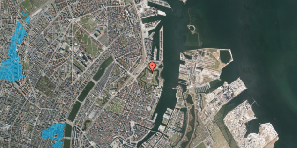 Oversvømmelsesrisiko fra vandløb på Kastellet 78, 2100 København Ø