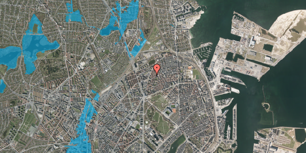 Oversvømmelsesrisiko fra vandløb på Lange-Müllers Gade 5, 4. tv, 2100 København Ø