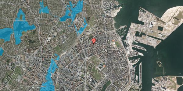 Oversvømmelsesrisiko fra vandløb på Lange-Müllers Gade 7, 4. tv, 2100 København Ø