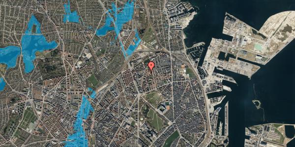 Oversvømmelsesrisiko fra vandløb på Lange-Müllers Gade 11, st. tv, 2100 København Ø