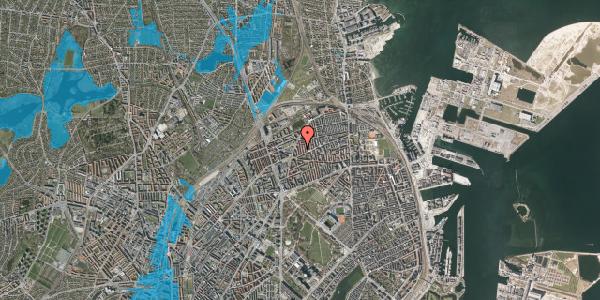 Oversvømmelsesrisiko fra vandløb på Lange-Müllers Gade 11, 2. tv, 2100 København Ø