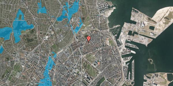 Oversvømmelsesrisiko fra vandløb på Lange-Müllers Gade 13, 1. tv, 2100 København Ø