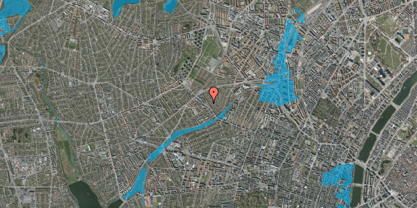 Oversvømmelsesrisiko fra vandløb på Rønnebærvej 12, 2. th, 2400 København NV