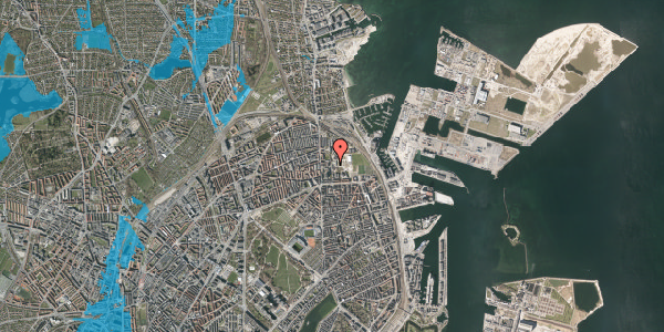 Oversvømmelsesrisiko fra vandløb på Sionsgade 5B, 2100 København Ø