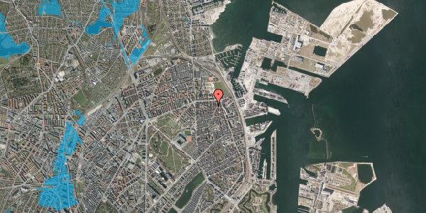 Oversvømmelsesrisiko fra vandløb på Svendborggade 1, 2. 14, 2100 København Ø