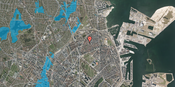 Oversvømmelsesrisiko fra vandløb på Vennemindevej 39, 3. th, 2100 København Ø