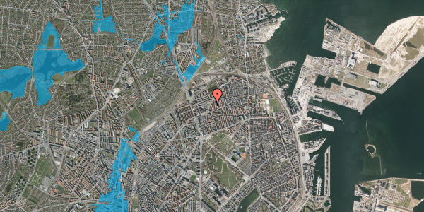 Oversvømmelsesrisiko fra vandløb på Victor Bendix Gade 14, 4. tv, 2100 København Ø