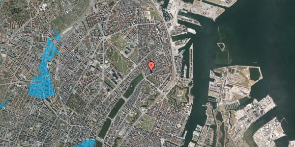 Oversvømmelsesrisiko fra vandløb på Willemoesgade 10, 2. th, 2100 København Ø