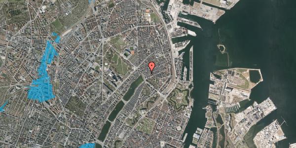 Oversvømmelsesrisiko fra vandløb på Willemoesgade 11, 1. th, 2100 København Ø