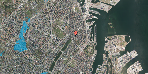Oversvømmelsesrisiko fra vandløb på Willemoesgade 17, st. tv, 2100 København Ø