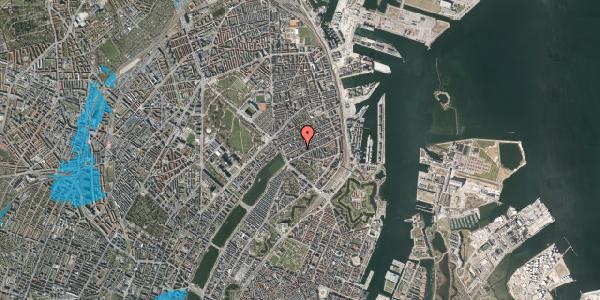 Oversvømmelsesrisiko fra vandløb på Willemoesgade 24, 1. th, 2100 København Ø