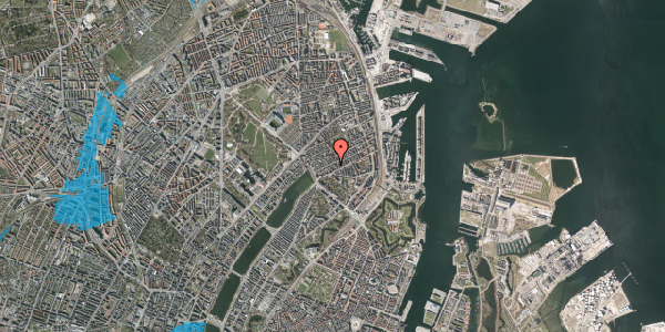 Oversvømmelsesrisiko fra vandløb på Willemoesgade 28, 1. th, 2100 København Ø
