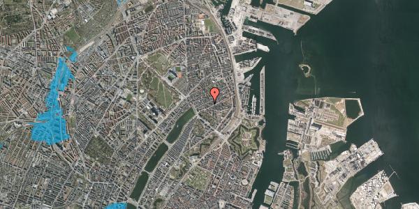 Oversvømmelsesrisiko fra vandløb på Willemoesgade 36, 1. th, 2100 København Ø
