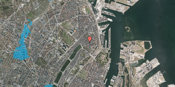 Oversvømmelsesrisiko fra vandløb på Willemoesgade 36, 4. th, 2100 København Ø