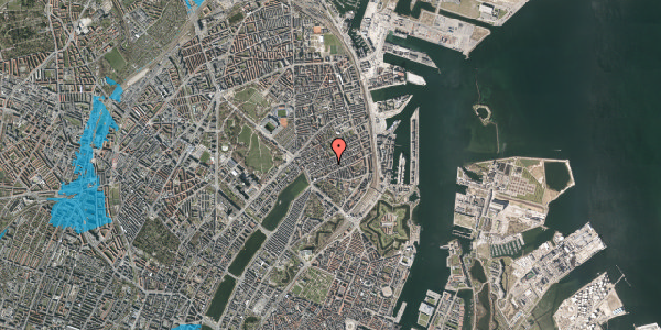 Oversvømmelsesrisiko fra vandløb på Willemoesgade 37, 2. tv, 2100 København Ø