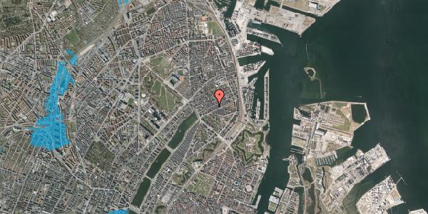 Oversvømmelsesrisiko fra vandløb på Willemoesgade 44, 3. tv, 2100 København Ø