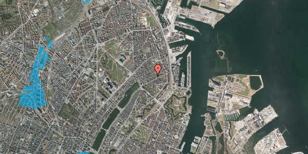 Oversvømmelsesrisiko fra vandløb på Willemoesgade 52, kl. tv, 2100 København Ø
