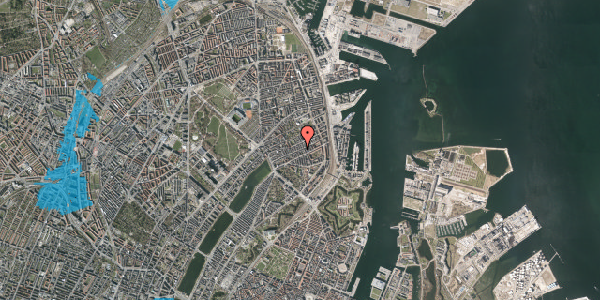 Oversvømmelsesrisiko fra vandløb på Willemoesgade 53, st. tv, 2100 København Ø
