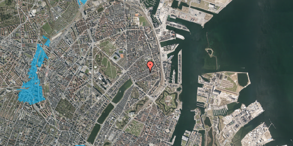 Oversvømmelsesrisiko fra vandløb på Willemoesgade 53, 4. tv, 2100 København Ø
