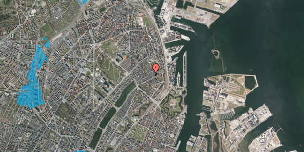 Oversvømmelsesrisiko fra vandløb på Willemoesgade 58B, 2100 København Ø