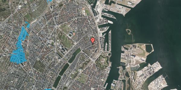 Oversvømmelsesrisiko fra vandløb på Willemoesgade 58C, 1. th, 2100 København Ø