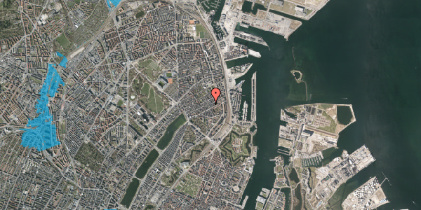 Oversvømmelsesrisiko fra vandløb på Willemoesgade 60, 2. th, 2100 København Ø
