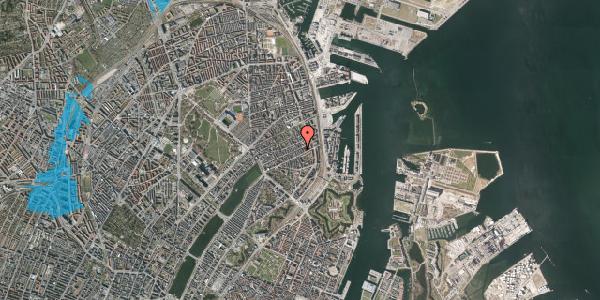 Oversvømmelsesrisiko fra vandløb på Willemoesgade 64, 3. tv, 2100 København Ø