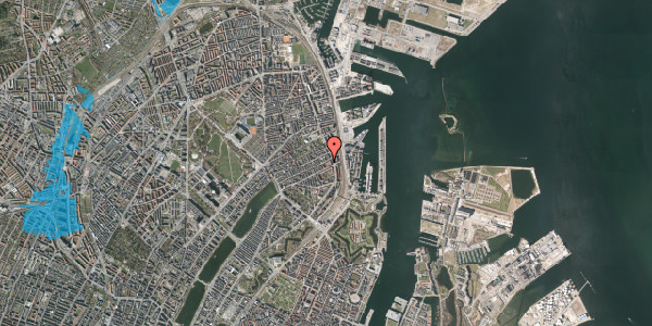 Oversvømmelsesrisiko fra vandløb på Willemoesgade 70, 3. 1, 2100 København Ø