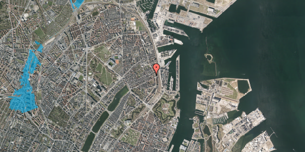Oversvømmelsesrisiko fra vandløb på Willemoesgade 74, 2. 3, 2100 København Ø