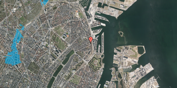 Oversvømmelsesrisiko fra vandløb på Willemoesgade 76, 5. th, 2100 København Ø