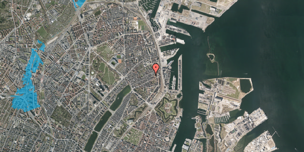 Oversvømmelsesrisiko fra vandløb på Willemoesgade 81, 5. th, 2100 København Ø