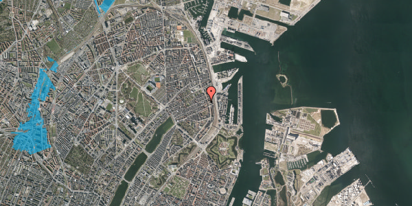 Oversvømmelsesrisiko fra vandløb på Willemoesgade 89, kl. , 2100 København Ø