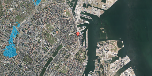 Oversvømmelsesrisiko fra vandløb på Willemoesgade 91, st. th, 2100 København Ø