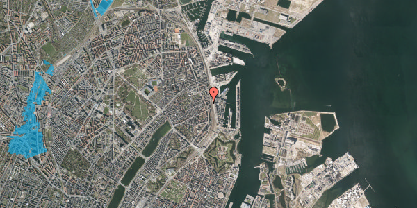 Oversvømmelsesrisiko fra vandløb på Willemoesgade 93A, st. , 2100 København Ø
