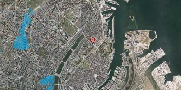 Oversvømmelsesrisiko fra vandløb på Visbygade 4, 3. tv, 2100 København Ø