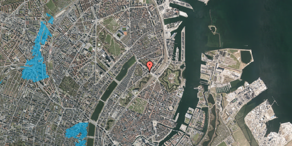 Oversvømmelsesrisiko fra vandløb på Visbygade 6, 1. tv, 2100 København Ø