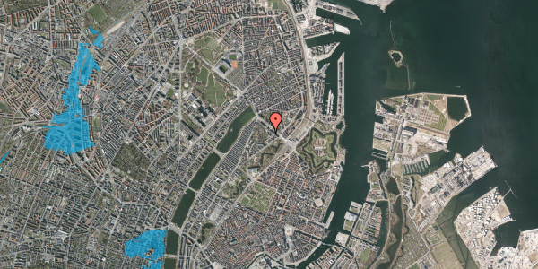 Oversvømmelsesrisiko fra vandløb på Visbygade 14, 1. th, 2100 København Ø
