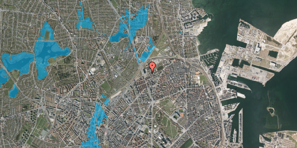 Oversvømmelsesrisiko fra vandløb på Vognmandsmarken 9, 1. th, 2100 København Ø
