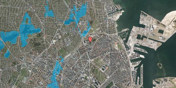 Oversvømmelsesrisiko fra vandløb på Vognmandsmarken 11, 3. tv, 2100 København Ø