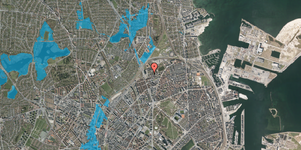 Oversvømmelsesrisiko fra vandløb på Vognmandsmarken 13, 2. th, 2100 København Ø