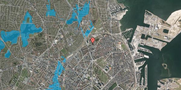 Oversvømmelsesrisiko fra vandløb på Vognmandsmarken 14, 3. tv, 2100 København Ø