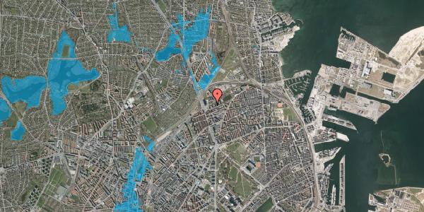 Oversvømmelsesrisiko fra vandløb på Vognmandsmarken 15, st. tv, 2100 København Ø