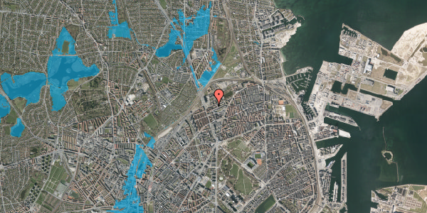 Oversvømmelsesrisiko fra vandløb på Vognmandsmarken 16, 1. th, 2100 København Ø