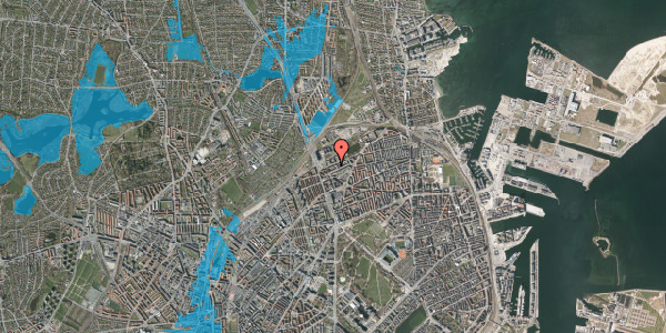 Oversvømmelsesrisiko fra vandløb på Vognmandsmarken 20, 4. th, 2100 København Ø
